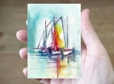 ACEO Original art sail boats painting abstract seaside landscape card miniature