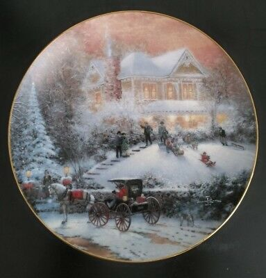 Thomas Kinkade Collector Plate - All Friends Are Welcome - 1993 1ST Issue Winter