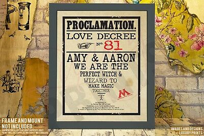 Personalised Harry Potter Wedding Couple Proclamation Gift Present Canvas Love