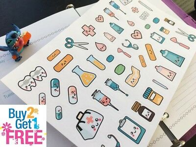PP297 -- Kawaii Medical Icons Life Planner Stickers for Erin Condren (47pcs)