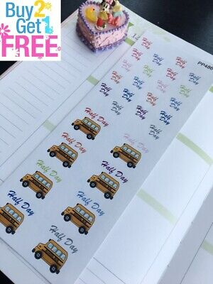 PP486 --  Half Day Of School Icons Life Planner Stickers for Erin Condren 40pcs