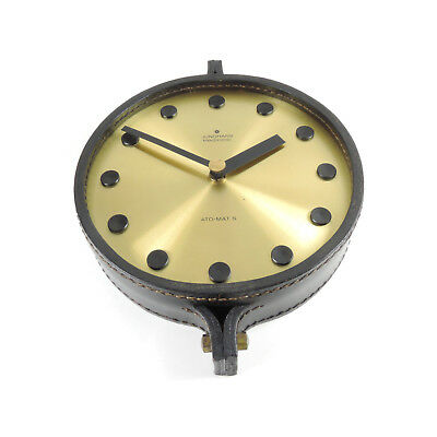 JUNGHANS ATO-MAT S Wanduhr Leder und Messing vintage wall clock leather & brass