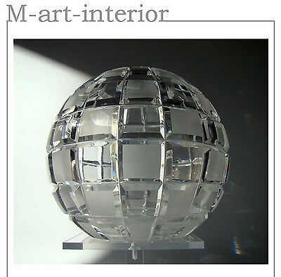 Art Déco Czech Glass Cut Crystal Modernist Globe Vase with Squares Bohemia 1930s