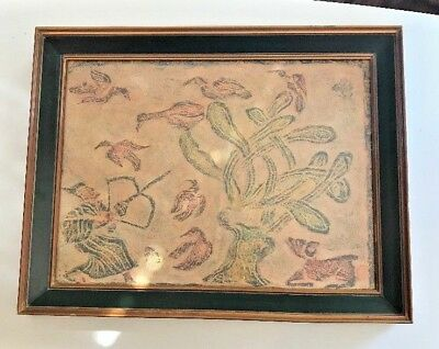 """Vintage Framed Thai Temple Rubbing On Rice Paper 16.5"""" x 13.75"""""""