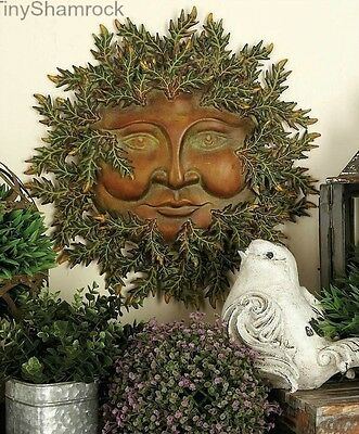 Sun Face Metal Leafy Wall Art Outdoor Garden Decor Copper Celestial Fantasy NEW