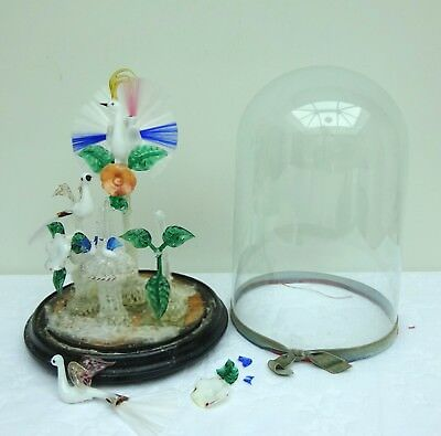 Victorian Glass Frigger Antique Fountain Centrepiece 19th Century Dome Nailsea