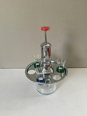 Vintage Chrome Pump Liquor Dispenser with 3 Colored Shot Glasses