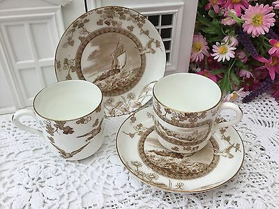 BROWNFIELD 8PCE ANTIQUE c1880s COFFEE CUP SAUCER SET FISHING BOATS BIRDS DAMAGED