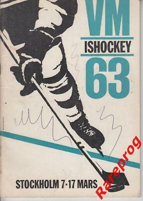 hockey of. programme World CUP 1963 Sweden - USSR USA Germany=both Canada CSSR