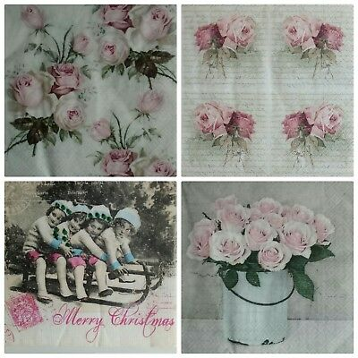 4x Single Paper Napkins for decoupage Vintage .Lote Servilletas de papel vintage
