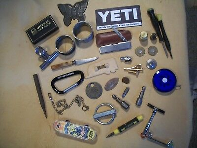 Estate Junk Drawer Lot of 32pc.,Tools,Knives,Tape,Coins,Jewlery,Napkin Rings,Toy