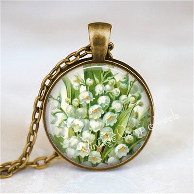 LILY Of The VALLEY Pendant Necklace White Lily Flower Jewelry Botanical Flower
