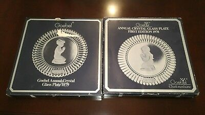 Set of Goebel Annual crystal glass plates first edition 1978 & 1979 Jahresteller