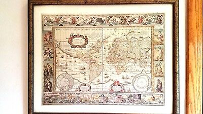 Map of the World, World in 1635 Framed  Matted Art Print by Willem Blaeu Vintage