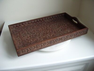 Vintage beautiful hand carved wooden tray with handles