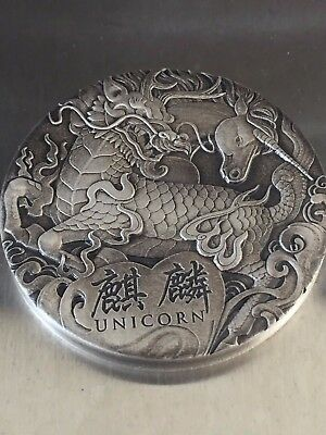 Tuvalu 2018 Unicorn Qi Lin Mythical Creatures Antiqued $2 2 Oz Silver Antique