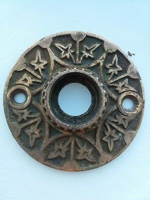Antique Brass Bronze Eastlake Victorian Door Knob Rosette Round Flower Floral