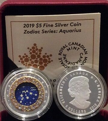 2019 Zodiac Aquarius $5 1/4OZ Pure Silver Proof Canada 27mm Coin with Crystal