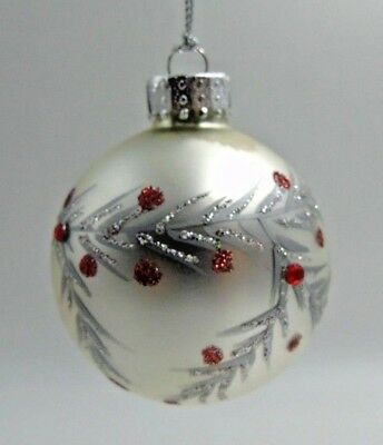"""Dept 56 Glass Christmas Ornament Silver Red Dots Round NWT 2.5"""""""