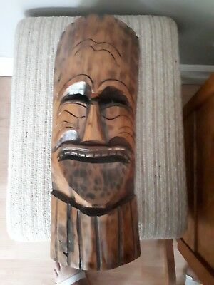 Vintage Authentic Mexican mask!  Carved in wood!  Wall mounted!  FREE SHIPPING!!