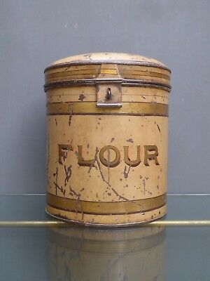 Beautiful Scarce Antique Victorian Vintage Toleware Flour Bin Canister Tin