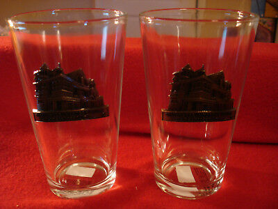 Set of 2 Winchester Mystery House Souvenir Pint Glasses with Metal Badge