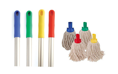 Mop Heads Handles Multi Buys Bundle Floor Cleaning Red Blue Yellow Green Colour