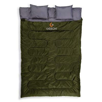 Gideon Extreme Waterproof Backpacking Double Sleeping Bag with 2 Pillows –...