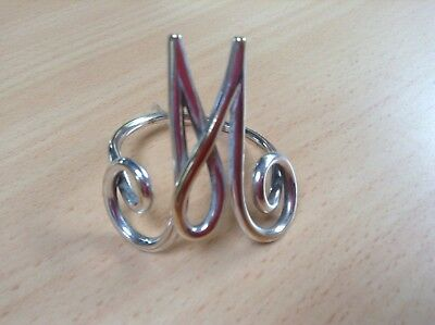 Edwardian Silver Plated Napkin Ring In The Form Of The Initial M Or W
