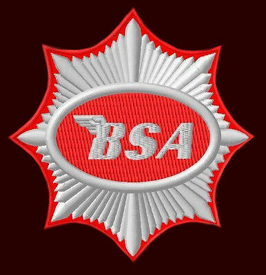 """Bsa Embroidered Patch ~3-1/2"""" British Motorcycle A 7 Cafe Racer B 31 B 32 B 40"""