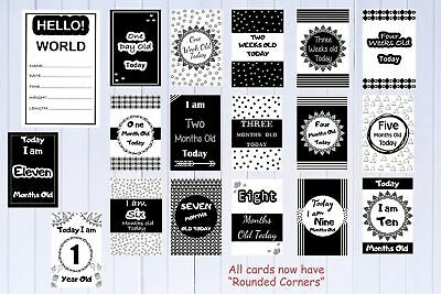 Monochrome Baby Milestone Cards Pack of 18-MONTHS ONLY Baby Shower Gift Pkt 18