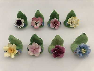 8 Bone China Porcelain Coalport Single Flower Name Place Card Holders England