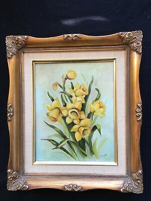 Yellow Daffodils Oil Painting Signed Framed Ornate Gold Frame Gibson Museum Sale