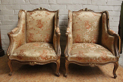 Pair of Antique French Louis XV Gilt On Walnut Bergere Arm Chairs