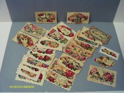 Antique Victorian Calling Cards Lot of 27 Doves Flowers Hands For Crafts Project