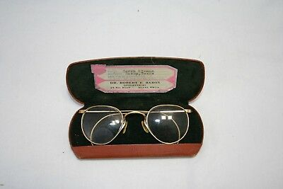 OLD VINTAGE ANTIQUE GLASSES SPECTACLES  ROUND 1940's STEAM PUNK H04
