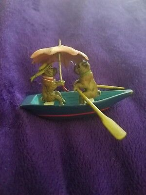 Antique Vintage Cold-Painted Viennese Bronze Two Dogs in Rowboat