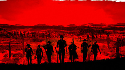Red Dead Redemption Red/black  Poster  Print Vinyl Wall Sticker Various Sizes