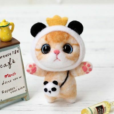 Cat Doll Wool Felt Craft DIY Non Finished Poked Set Handcraft Kit For Needle Bag