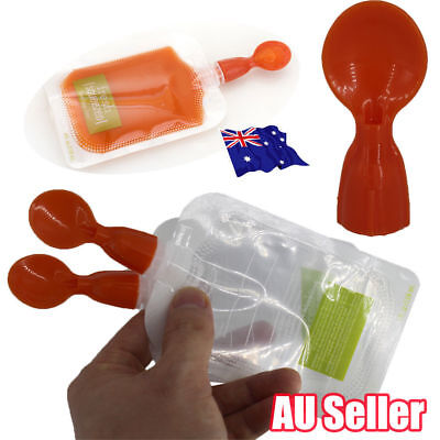 Silicone Squeeze Soft Tip Baby Feeding Spoons for Reusable Food Pouch VW