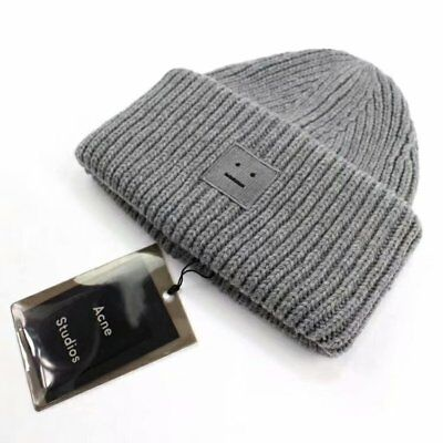 a36d252a00a NEW ACNE STUDIO Pansy S face Ribbed Wool beanie knit hat cap Gray ...
