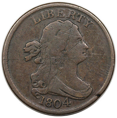 1804 Draped Bust Half Cent, Spiked Chin, C-6, F detail