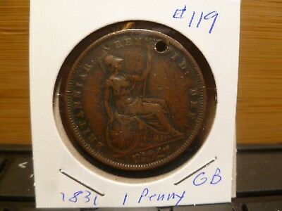 1831 Great Britain Penny Holed