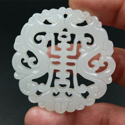 Jade Pendant Amulet engraving Necklace Natural jade White 双龙祝寿 statue  jewelry