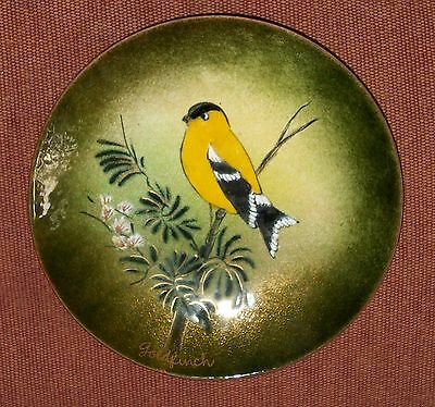 Vtg Goldfinch Cloisonne Copper Enamel Plate Ratcliff Stone Mountain Georgia Art