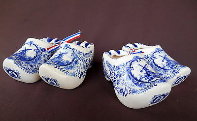 4 BLUE DELFT Holland ASHTRAYS SHOES CLOGS Handmade NEW w/Labels