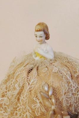 ANTIQUE GERMAN HALF-DOLL Pin Cushion Lace Beadwork