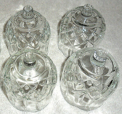 3 Homco Candle Votive Holder Clear Pretty Line Pattern & Scalloped Edges Mint