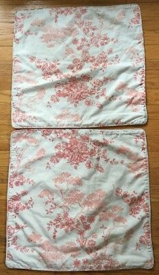 2 Pottery Barn RED Toile print square Pillow Covers -linen-cotton blend PB LOT