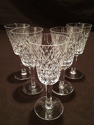 Set Of 5 Waterford Crystal Alana Sherry Glasses